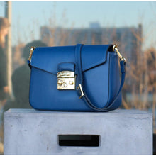 Load image into Gallery viewer, floto leather cross body stachel women's bag sapri blue front