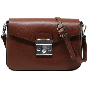 floto leather cross body stachel women's bag sapri dark brown