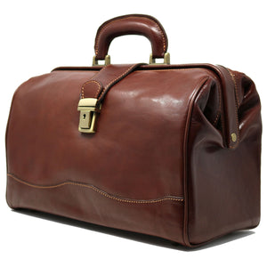 Floto Italian Leather Doctor Style Handbag Top Handle Bag brown side