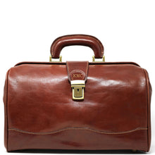 Load image into Gallery viewer, Floto Italian Leather Doctor Style Handbag Top Handle Bag brown monogram