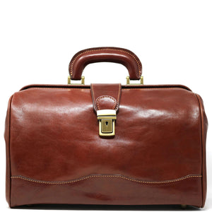 Floto Italian Leather Doctor Style Handbag Top Handle Bag Brown