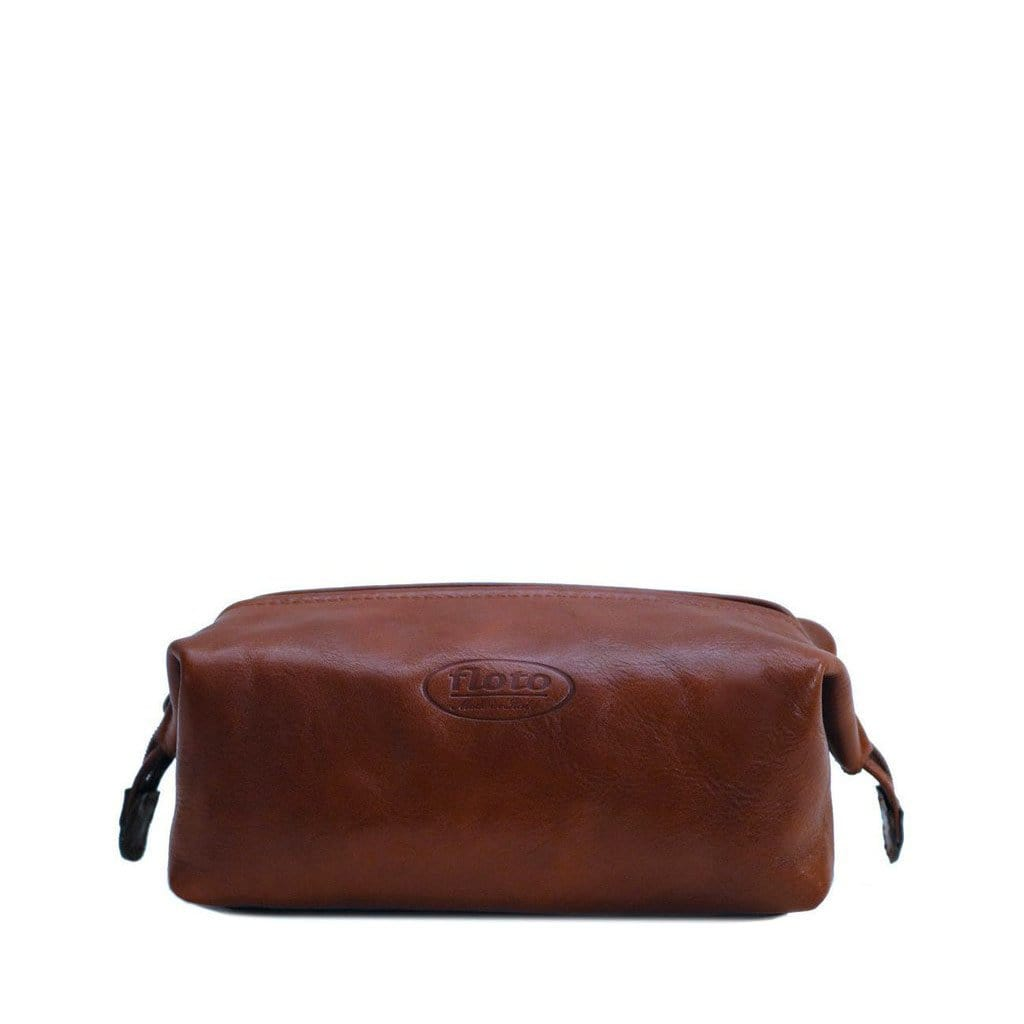 Floto Italian Framed Leather Dopp Toiletry Bag Travel Shave Kit brown