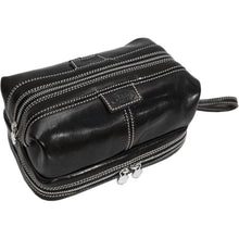 Load image into Gallery viewer, Floto leather drop bottom dopp travel kit bag black