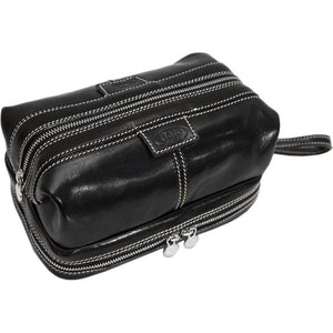 Floto leather drop bottom dopp travel kit bag black