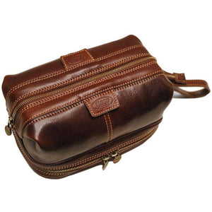 Floto leather drop bottom dopp travel kit bag brown