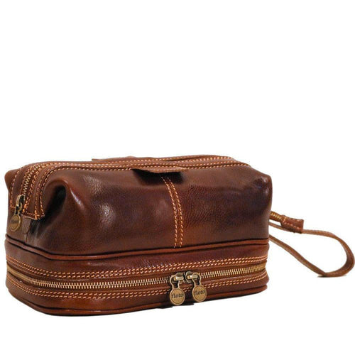 Floto Italian Positano leather drop bottom dopp travel kit bag brown