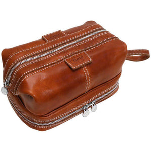 Floto leather drop bottom dopp travel kit bag olive brown