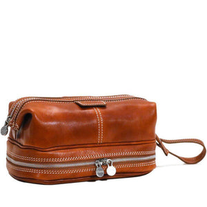 Floto Italian Positano leather drop bottom dopp travel kit bag olive brown
