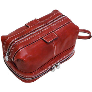 Floto leather drop bottom dopp travel kit bag tuscan red