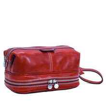 Load image into Gallery viewer, Floto Italian Positano leather drop bottom dopp travel kit bag red