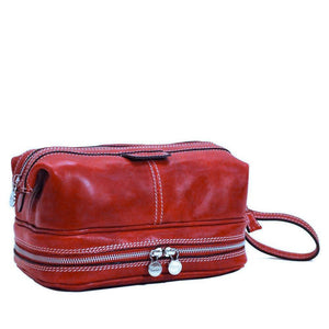 Floto Italian Positano leather drop bottom dopp travel kit bag red