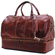 Load image into Gallery viewer, leather drop bottom duffle bag floto venezia brown