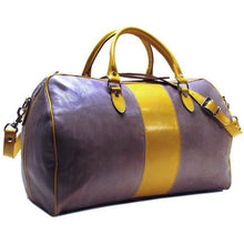 Load image into Gallery viewer, grey and brown leather duffle bag floto venezia