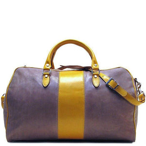 grey and brown leather duffle bag floto venezia