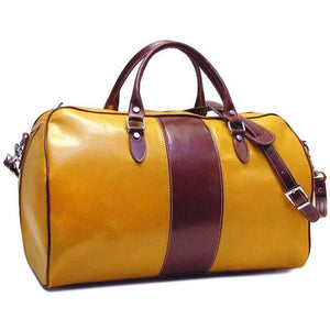 yellow and brown leather duffle bag floto venezia