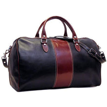 Load image into Gallery viewer, black and brown leather duffle bag
