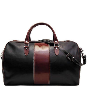 Floto Italian Leather Venezia Duffle Bag in Brown and Black - London