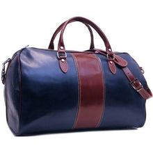Load image into Gallery viewer, blue and brown leather duffle bag floto venezia westport