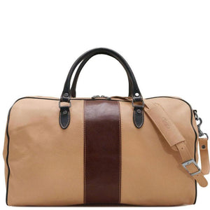 Italian Leather Duffle Bag Floto Venezia Aspen in Ivory and Brown