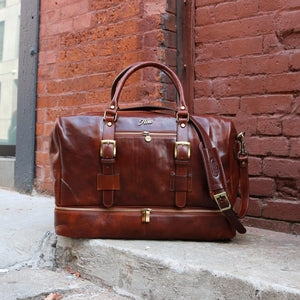 Leather Duffle Bag Floto Drop Bottom Shoe Comparment 3