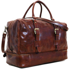Load image into Gallery viewer, Leather Duffle Bag Floto Drop Bottom Shoe Comparment 2
