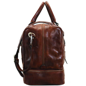 Leather Duffle Bag Floto Drop Bottom Shoe Comparment 6