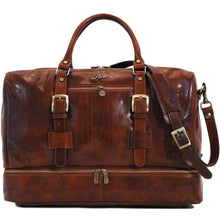 Load image into Gallery viewer, Leather Duffle Bag Floto Drop Bottom Shoe Comparment monogram