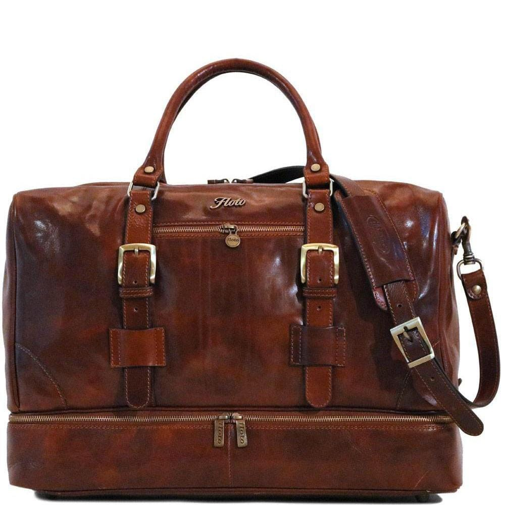 Leather Duffle Bag Floto Drop Bottom Shoe Comparment