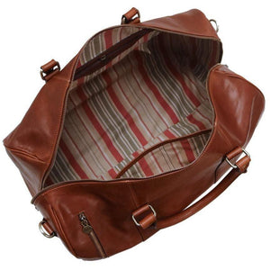 floto leather duffle travel bag in brown