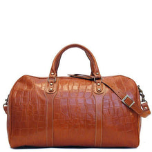 Load image into Gallery viewer, Floto Italian Leather Duffle Bag alligator embossed print brown