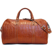 Load image into Gallery viewer, Floto Italian Leather Duffle Bag alligator embossed print brown 2