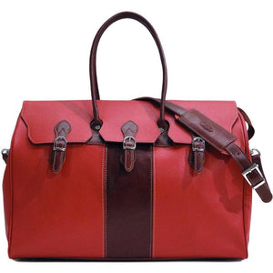 floto lugano gladstone duffle bag carryon red and brown