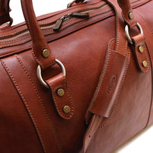 Load image into Gallery viewer, Leather Travel Duffle Bag Roma Monogram