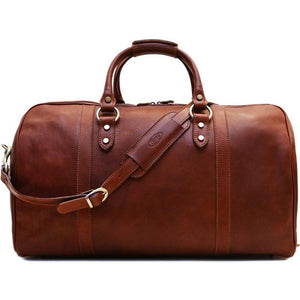 Leather Duffle Cabin Bag Brown Floto Roma