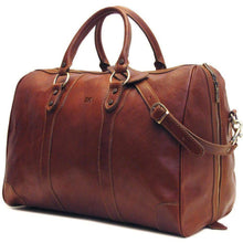 Load image into Gallery viewer, leather duffle bag floto roma monogram
