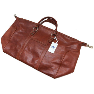 Floto Roma Italian Leather Travel Duffle Bag ships flat