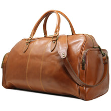 Load image into Gallery viewer, Floto Italian Leather Duffle Bag Venezia Pocket in Tempesti Brown 2