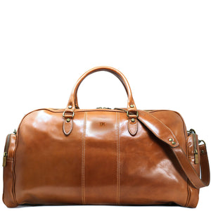 Floto Italian Leather Duffle Bag Venezia Pocket in Tempesti Brown Monogram