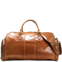 Load image into Gallery viewer, Floto Italian Leather Duffle Bag Venezia Pocket in Tempesti Brown