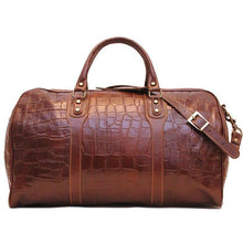 Load image into Gallery viewer, Floto Italian Leather Duffle Bag alligator embossed print brown 3