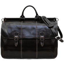 Load image into Gallery viewer, Floto Italian Leather Vaggo Duffle Travel Bag Weekender black