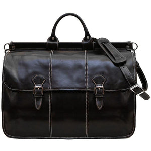 Floto Italian Leather Vaggo Duffle Travel Bag Weekender black