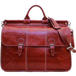 Floto Italian Leather Vaggo Duffle Travel Bag Weekender red