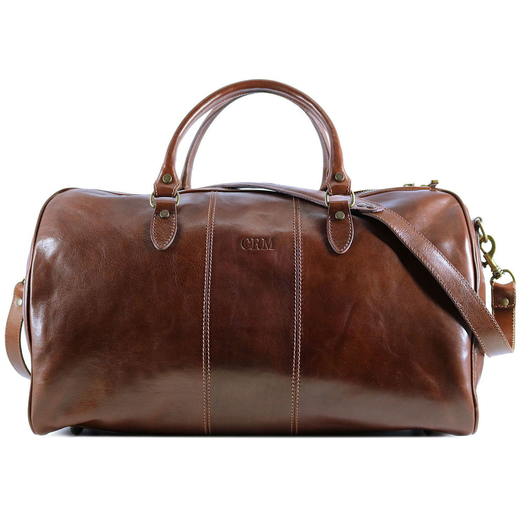 Floto Italian Leather Duffle Bag Venezia 2.0 Travel Bag brown monogram