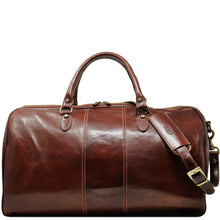 Load image into Gallery viewer, Floto Italian Leather Venezia Duffle Travel Bag Luggage brown front