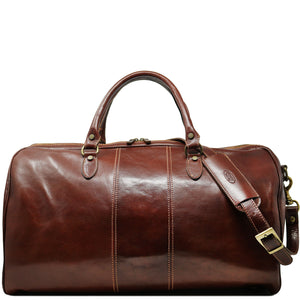 Floto Italian Leather Venezia Duffle Travel Bag Luggage brown front