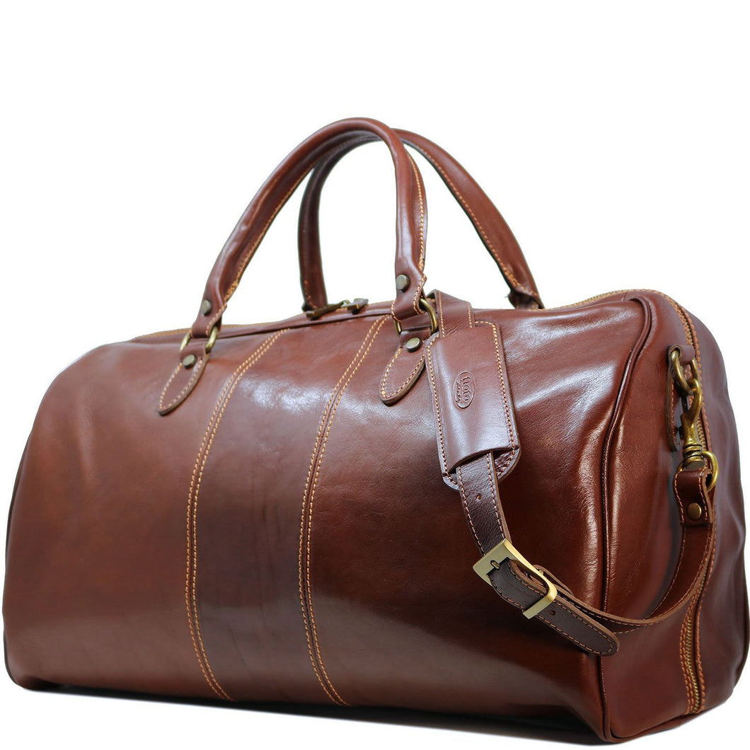 Floto Italian Leather Venezia Duffle Travel Bag Luggage brown side