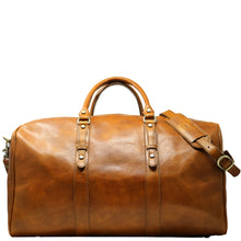 Load image into Gallery viewer, Leather Duffle Bag Floto Venezia Grande front tobacco
