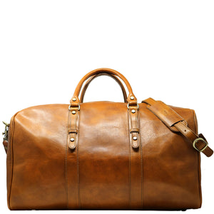Leather Duffle Bag Floto Venezia Grande front tobacco