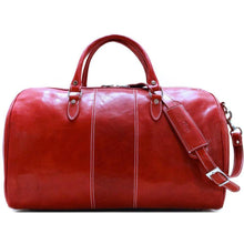 Load image into Gallery viewer, Leather Duffle Bag Floto Venezia red